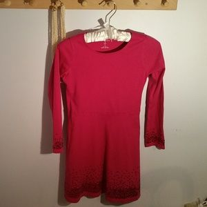 Lands End Size 7 Solid Pink Long Sleeve Dress